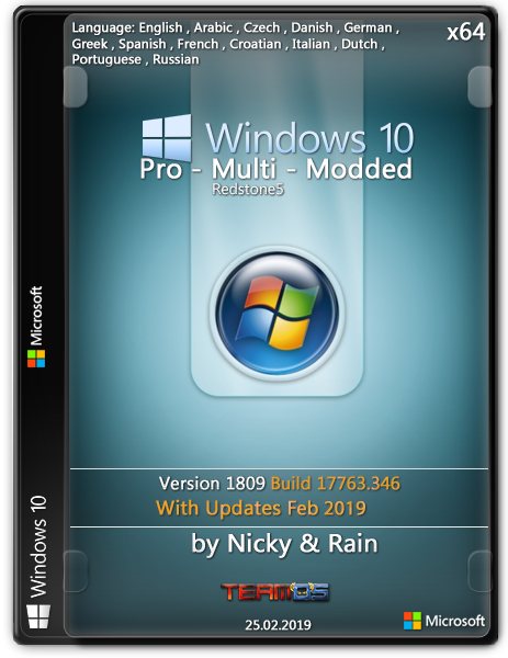 Windows 10 Pro RS5 v.1809.17763.346 Multi Modded -- Seeders: 2 -- Leechers: 0